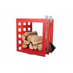 Czerwony nowoczesny stojak na drewno z przyborami kominkowym